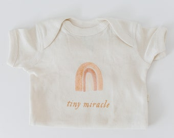 Tiny Miracle Modern Rainbow Baby Onesie - Natural Cream gender neutral baby shower newborn outfit miscarriage ivf miscarry pregnancy loss