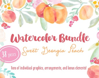 Sweet Georgia Peaches Hand Painted Watercolor Clipart Clip Art Personal Commercial Use fruit flowers peach coral pink wreath leaf wedding
