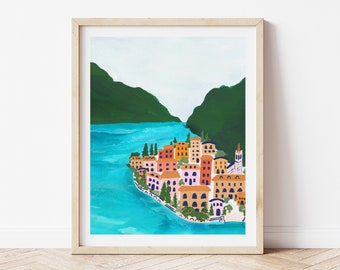 Lake Como Italy Coast Colorful City Houses - City Street Art Print Painting - Italian Europe Charming Travel Artwork Wall Decor