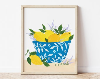 Lemons and Lavender in Blue and White Bowl in Sorrento - Citrus Fruit Art Print Painting Italy Europe Charming Travel Artwork Wall Decor