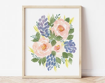 Peach Roses and Purple Hyacinth Watercolor Flower Floral Art Print - home decor wall artwork plant lady koko loko roses cafe au lait