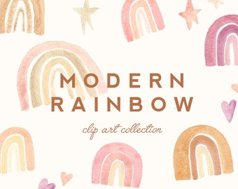 Modern Rainbow Watercolor Clip Art  - Personal Commercial Use clipart rainbows star heart magical peach pink mid century mod