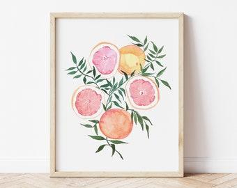 Citrus Fine Art Print - Oranges Grapefruit Artwork modern watercolor illustration fruit pink yellow orange green boho