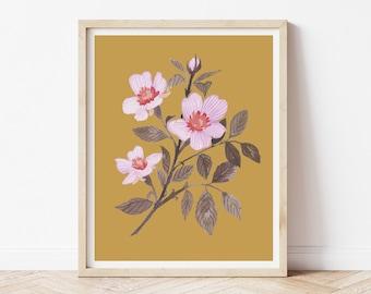 Folk Flower Watercolor Painting - Anemone Cosmos
