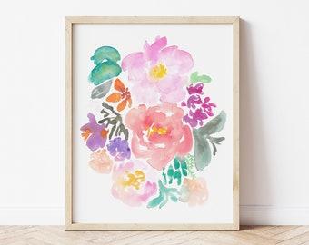 Jungle Boho Colorful Watercolor Flower Art Print - home decor wall artwork peony peonies rose garden pink fuchsia office feminine floral