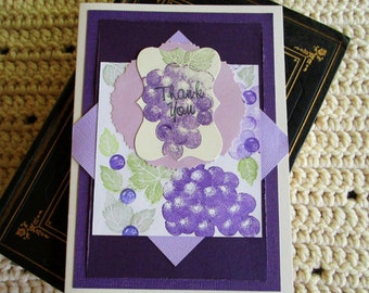 Thank You Card, Fruit Card, Purple Grapes, Green Leaves, Purple and White, Mixed Media Card, Layered Card, Blank Card