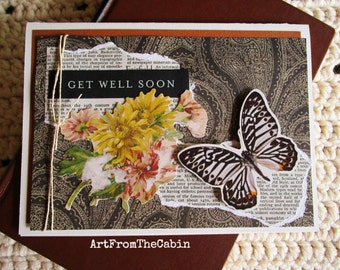 Butterfly Get Well Card, Get Well Soon, Nature, Butterfly, Yellow Flowers, Black, Yellow, White, Mixed Media Card, Layered Card, Blank Card