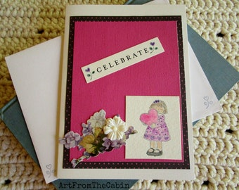 Birthday Card for Girl, Celebrate, Pink and White, Girl in Purple Dress, Flowers, Heart, Layered Card, Happy Birthday, Have A Great Day