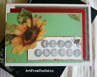 Sunflower Card, Thanksgiving Card, Give Thanks, Yellow and Green, Glittery Yellow Flower, Buzzing Bee, Stamped Flowers, Blank Card