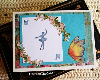 Ballerina Card, Dancer, Ballerina, Ballet, Butterfly, Pink Flowers, Turquoise and White, Mixed Media Card, Layered Card, Card for Dancer