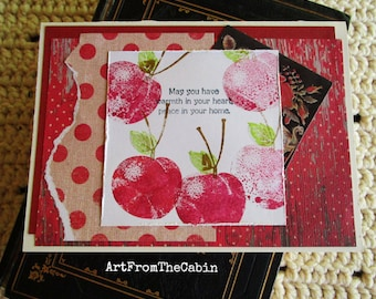 Housewarming Card, Fruit Card, Red Apples, Red and White, Red Polka Dots, Mixed Media Card, Layered Card, Blank Card, Peace In Your Home