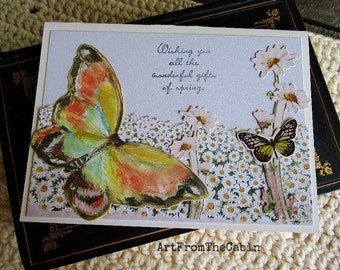 Butterfly Any Occasion Card, Springtime, Butterflies, White Daisies, Spring Colors, White, Mixed Media Card, Layered Card, Blank Card