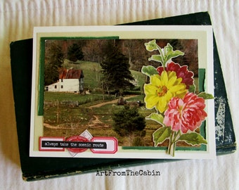 Farm Landscape Card, Any Occasion, Always Take The Scenic Route, Old Homeplace, Flowers, Woodland, Blue Ridge Parkway, Scenic Virginia