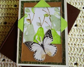 Fruit Card, Pear and Butterfly Card, Any Occasion Card, Green and Brown, Green Pears, Butterfly, Mixed Media Card, Layered Card, Blank Card