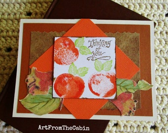 Thinking of You Card, Fruit Card, Oranges, Glitter Flowers, Green Leaves, Brown and Orange, Mixed Media Card, Layered Card, Blank Card