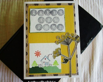 Yellow Happy New Home Card, Black and Yellow, Home and Heart, Yellow Wildflower, Sunshine, Black Polka Dots, Layered Card