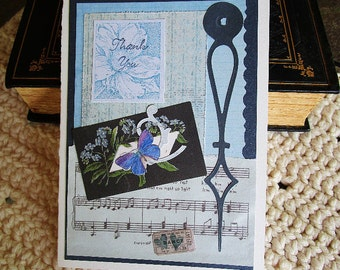 Thank You Music Card, Vintage Style, Blue and Black, Butterfly, Floral, Heart, Ticket Stub, Mixed Media Card, Layered Card, Blank Card