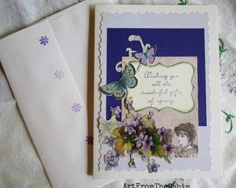Purple Flower Card, Any Occasion Card, Spring, Easter, Birthday, Purple and White, Purple Violets, Butterflies, Vintage Lady, Blank Card