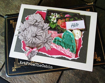 Daisy and Heart Card, Any Occasion, Hello, White Daisies, Cutter Quilt Heart, Pink Roses, Gray and Pink, Mixed Media Card, Layered Card
