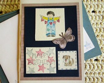 Birthday Card for Boy, Happy Birthday, Little Boy with Red Hearts, Blue and White, Blue and Red Stars, Puppy, Butterfly, Have A Great Day