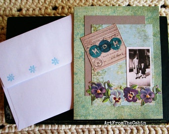 Any Occasion Card, Card for Mom, Floral Card, Blue and Purple Pansies, Vintage Style, Old Photo, Mom and Son, Old Cards, Layered Card