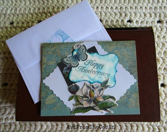 Butterfly and Flower Card, Anniversary Card, Happy Anniversary, Small Card, Turquoise and White, Gardenia, Glitter Butterfly, Blank Card