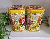 Pair of Vintage Hague 39 s Pretzel Tin Boxes - Canisters - Octagon Tins - Est. 1898 - A.P. Hague - England - Vintage Decor - Pantry Storage