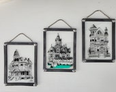 Set of 3 W. Berrie Ink on Glass Hangings - Vintage Art - Glass Art - Wallace Berrie Illustrations - Victorian Homes - Architecture - Signed