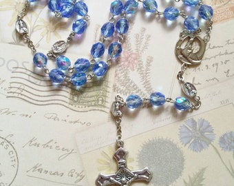 Fatima Rosary Catholic with 8mm Light Blue AB faceted Beads