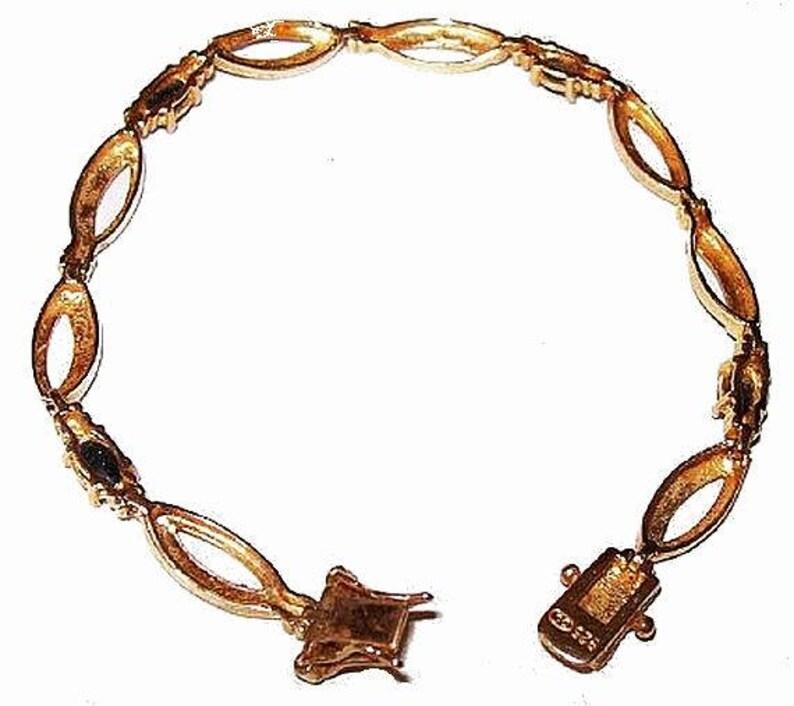 Sapphire Bracelet Tennis Link Signed 925 DL Sterling Silver Gold Vermeil 8