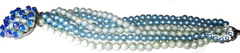 Blue Bead Bracelet Miriam Haskell Style 6 Rows Fancy Beaded Clasp 1930s-40s Vintage