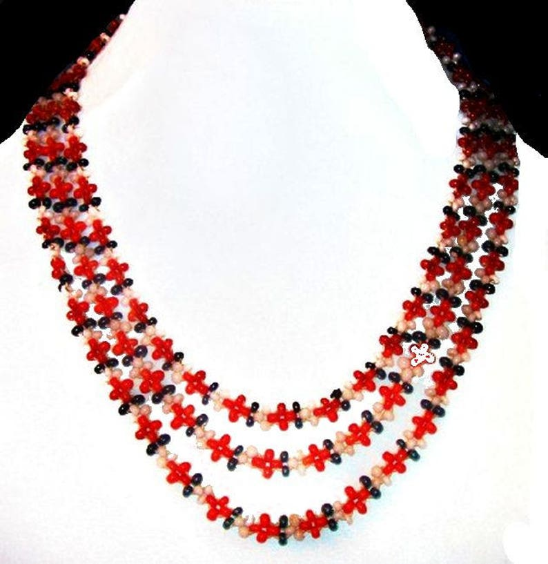 Antique Coral Bead Necklace Black Red White Natural Coral Asian 24 Vintage