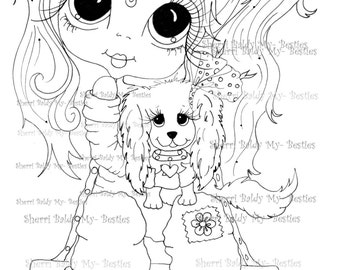 INSTANT DOWNLOAD Digital Digi Stamps Wendy and Wag By Sherri Baldy