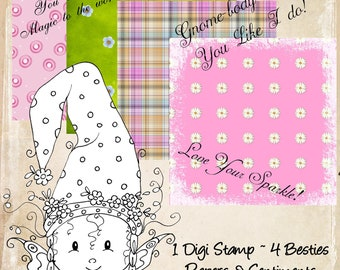 INSTANT DOWNLOAD Digital My Besties img085-2 Digi Stamp Kit Besties Gnome-Ville TM digi stamp
