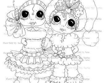 INSTANT DOWNLOAD Digital Digi Stamps Big Eye Big Head Dolls Digi  My - Besties Your My Christmas Bestie By Sherri Baldy