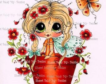 INSTANT DOWNLOAD Digital Digi Stamps Big Eye Big Head Dolls Digi   Besties Garden Besties IMG376 By Sherri Baldy