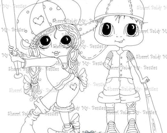 INSTANT DOWNLOAD  Digital Digi Stamps Big Eye Big Head Dolls Base Ball Buds Bestie Boys By Sherri Baldy
