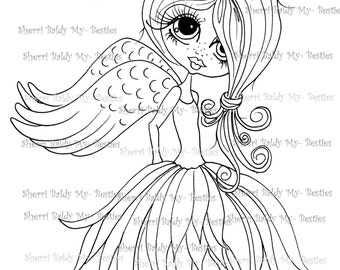 INSTANT DOWNLOAD Digi Stamps Big Eye Big Head Dolls Digi Bestie img482  By Sherri Baldy