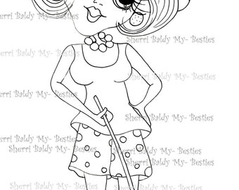 INSTANT DOWMLOAD Digital Digi Stamps Big Eye Big Head Dolls Digi Crafty Chicks img578 By Sherri Baldy