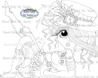 INSTANT DOWMLOAD Digital Digi Stamps Big Eye Big Head Dolls Digi Img085  New My Besties Tm STEAMPUNK By Sherri Baldy