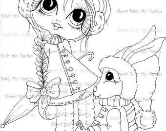 INSTANT DOWMLOAD Digital Digi Stamps Big Eye Big Head Dolls Digi Img495  By Sherri Baldy