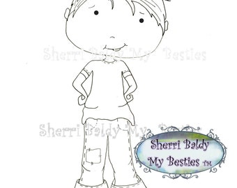 INSTANT DOWNLOAD Digital Digi Stamps Big Eye Big Head Dolls My Besties Pals My Little DimplesBoy 3  By Sherri Baldy