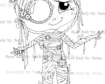 INSTANT DOWNLOAD Digital Digi Stamps Big Eye Big Head Dolls Digi  Steampunk Mummy Img742 By Sherri Baldy