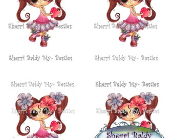Instant Download Jancoloredprintablebk5 3D Decoupage kit Besties Big Head Dolls Digi By Sherri Baldy