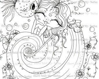 INSTANT DOWNLOAD Digital Digi Stamps Big Eye Big Head Dolls Digi  My Besties Sea Shell Susie IMG383 By Sherri Baldy