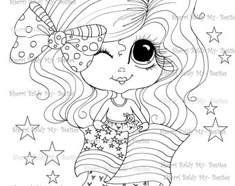 INSTANT DOWNLOAD Digital Digi Stamps Big Eye Big Head Dolls Digi My Besties IMG093 You get 2 Stamps in this order By Sherri Baldy