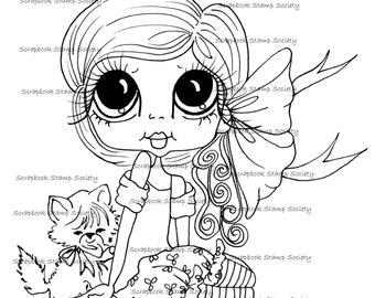 INSTANT DOWNLOAD digitale Digi Stamps Big Eye Big hoofd poppen Digi My - Besties IMG802 met Kitty door Sherri Baldy