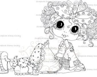 INSTANT DOWNLOAD Digital Digi Stamps Big Eye Big Head Dolls Digi  My Besties IMG699 By Sherri Baldy