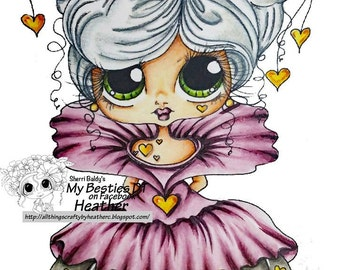 INSTANT DOWNLOAD Digital Digi Stamps Big Eye Big Head Dolls Digi Queen Of Hearts Img129 Bestie  by Sherri Baldy  By Sherri Baldy