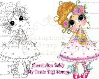 INSTANT DOWNLOAD Digital Digi Stamps Big Eye Big Head Dolls Digi Little QT Bestie By Sherri Baldy